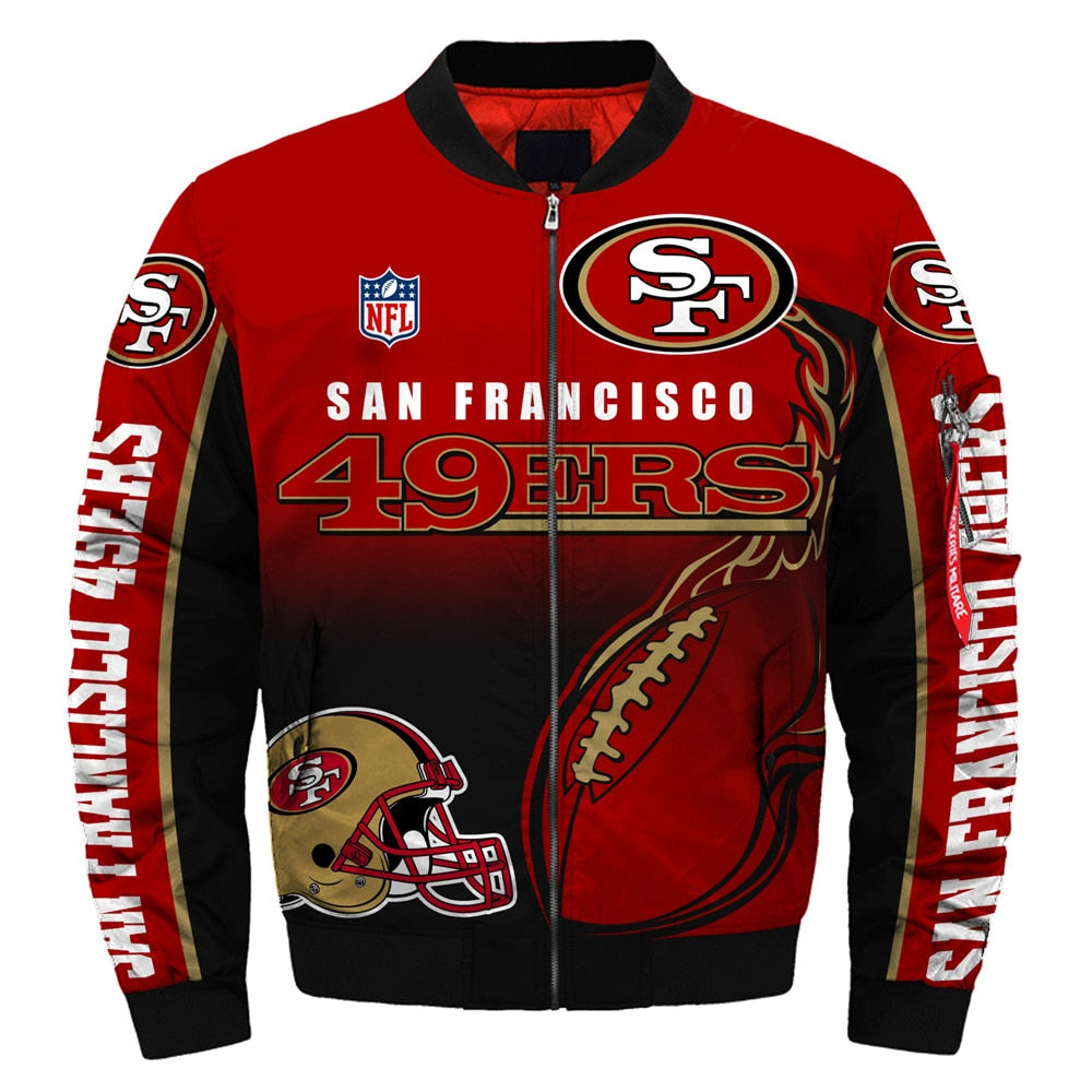 check out d6fab 127df Newest Design 2019 NFL Bomber Jacket Custom San Francisco 49ers Jacket Cheap