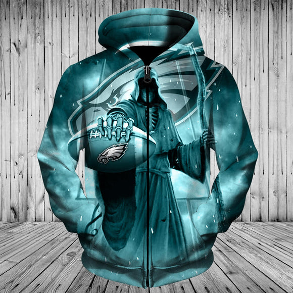 Philadelphia Eagles Zip Up Hoodies 3D Death Skull Hoodies-Sweatshirt-4 Fan Shop