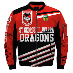 St. George Illawarra Dragons Jackets 3D Full-zip Jackets-jacket-4 Fan Shop