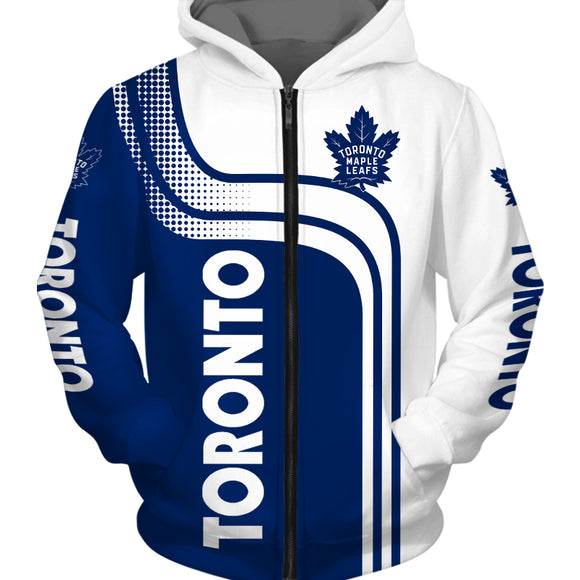 Toronto Maple Leafs Zip Up Hoodie 3D With Hooded Long Sleeve-hoodie-4 Fan Shop