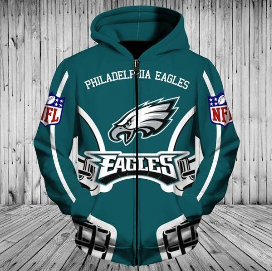 outlet store b192a 653e4 Cheap Price NFL Football Philadelphia Eagles 3D Hoodie With Zipper  Sweatshirt Jacket Pullover