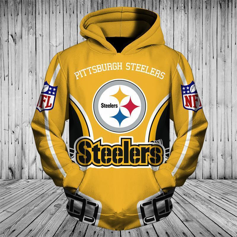 brand new 15ae6 446d1 Cheap Price NFL Hoodies 3D Pittsburgh Steelers Zip up Hoodies Sweatshirt  Pullover
