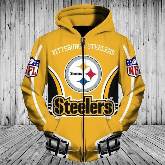 brand new f1489 491ba Cheap Price NFL Hoodies 3D Pittsburgh Steelers Zip up Hoodies Sweatshirt  Pullover