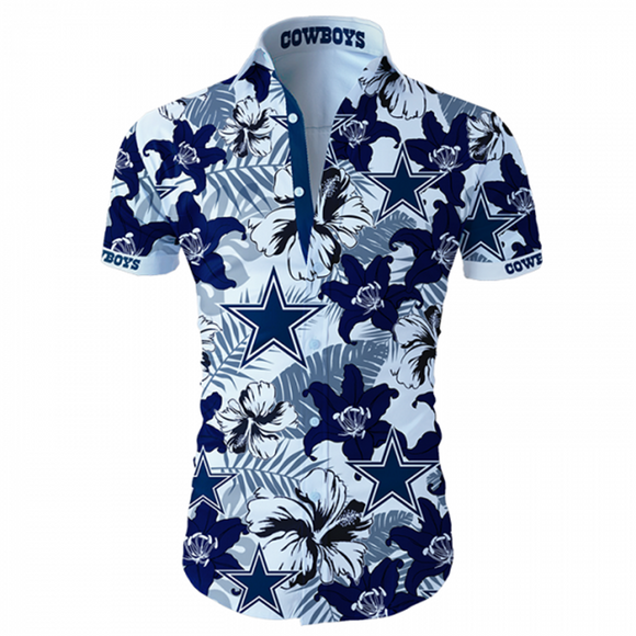 Dallas Cowboys Hawaiian Shirt Tropical Flower Short Sleeve Slim Fit Body-Shirt-4 Fan Shop