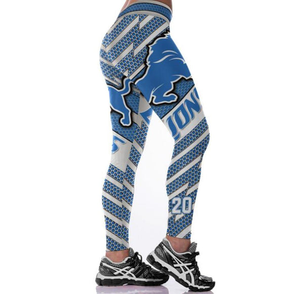 Detroit Lions 3D Print YOGA Gym Sports Leggings High Waist Fitness Pant Workout Trousers-Leggings-4 Fan Shop