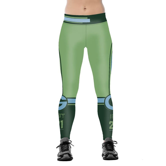 Green Bay Packers 3D Print YOGA Gym Sports Leggings High Waist Fitness Pant Workout Trousers-Leggings-4 Fan Shop