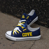 High School Novelty Design Canvas Shoes Print Logo Cove Bulldawgs-Shoes-4 Fan Shop