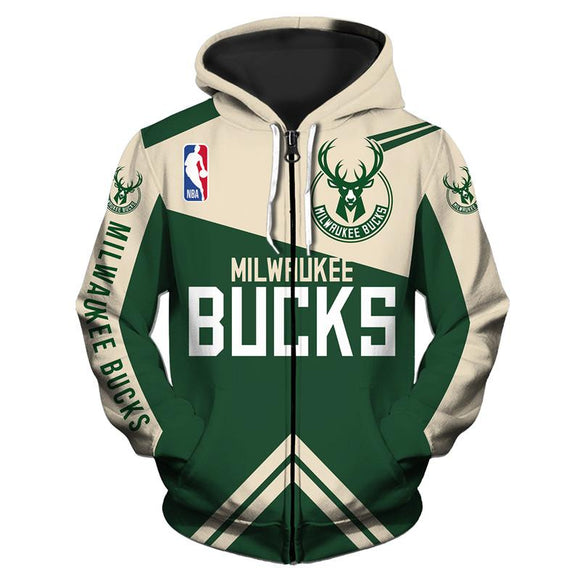 Low Price NBA Hoodie 3D Milwaukee Bucks Hoodies Zip Up Sweatshirt Jacket Pullover-Sweatshirt-4 Fan Shop