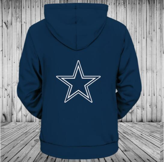Hot Low Price NFL Football Dallas Cowboys 3D Hoodie With Zipper  for sale