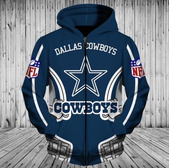 official photos ad72d 881e5 Low Price NFL Football Dallas Cowboys 3D Hoodie With Zipper Sweatshirt  Jacket Pullover