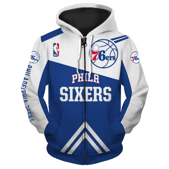 Lowest Price Men Philadelphia 76ers Hoodie 3D Zip Up Sweatshirt Pullover-Sweatshirt-4 Fan Shop