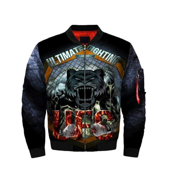 Men UFC Jackets UFC MMA Fighting Fierce Tiger Bomber Jacket Streetwear Flight Coat-jacket-4 Fan Shop