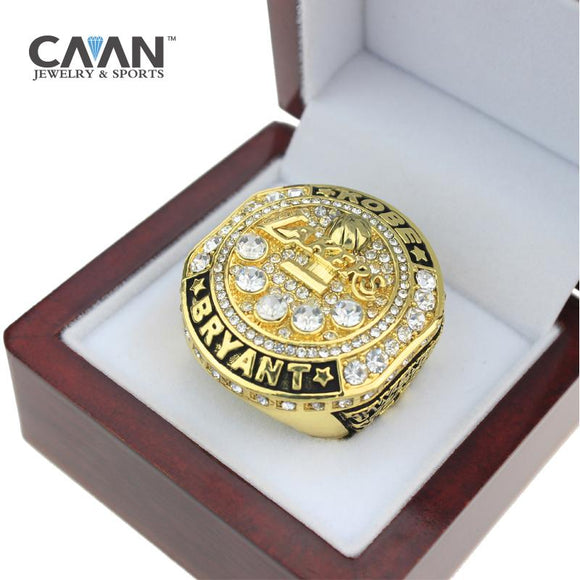 NBA Basketball 2016 Los Angeles Lakers Championship Rings KOBE BRYANT Color Gold-Ring-4 Fan Shop