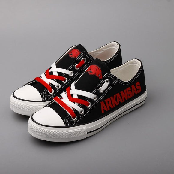 Novelty Design Arkansas Razorbacks Shoes Low Top Canvas Shoes-Shoes-4 Fan Shop