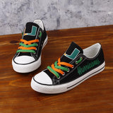 Novelty Design Miami Hurricanes Shoes Low Top Canvas Shoes-Shoes-4 Fan Shop