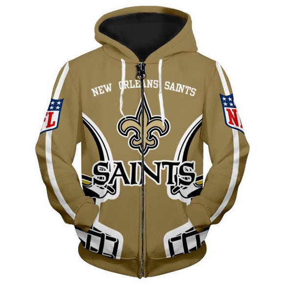 New Orleans Saints Zip Up Hoodies 3D Sweatshirt-Sweatshirt-4 Fan Shop