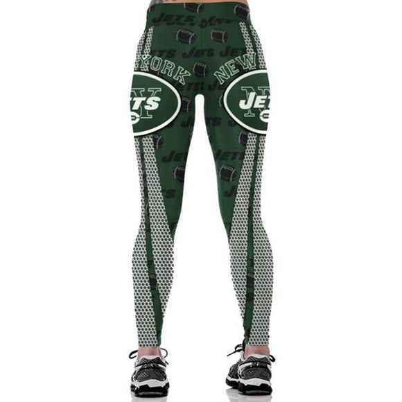 New York Jets 3D Print YOGA Gym Sports Leggings High Waist Fitness Pant Workout Trousers-Leggings-4 Fan Shop