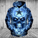 Dallas Cowboys Skull Hoodies 3D With Zipper, Pullover-Sweatshirt-4 Fan Shop