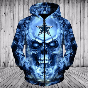 sale retailer 47046 fb9c8 NFL Football Dallas Cowboys 3D Skull Hoodie With Zipper ...