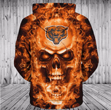 NFL Hoodies 3D Skull Chicago Bears Hoodies Cheap Zip Up, Pullover-Sweatshirt-4 Fan Shop