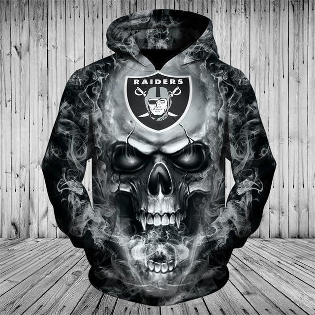 best website 93a6e 8d4f3 NFL Hoodies 3D Skull Oakland Raiders Hoodie Sweatshirt Zip Up Pullover