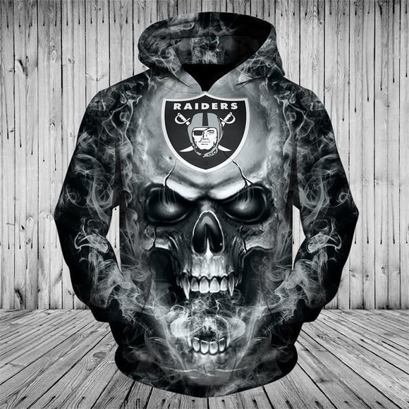 NFL Hoodies 3D Skull Oakland Raiders Hoodie Sweatshirt Zip Up Pullover-Sweatshirt-4 Fan Shop