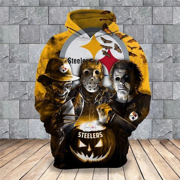 Pittsburgh Steelers Hoodies 3D Halloween Horror Night Sweatshirt Pullover-Sweatshirt-4 Fan Shop
