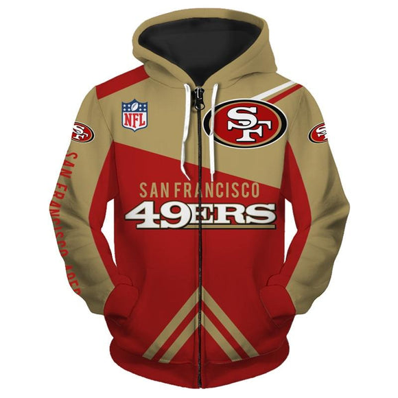 San Francisco 49ers Zip Up Hoodies Cheap 3D Sweatshirt Football-Sweatshirt-4 Fan Shop