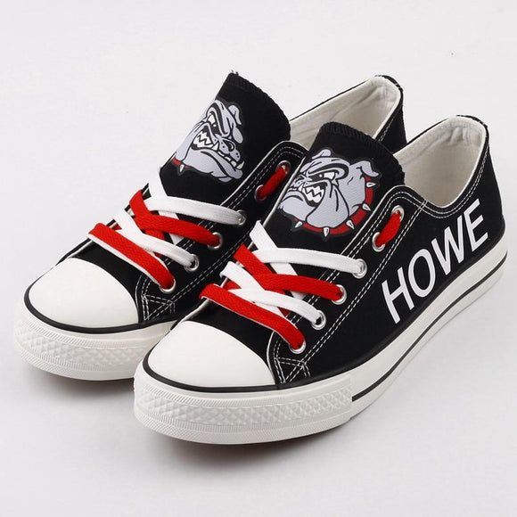 So Cool Design Canvas Shoes Printed Custom Letter & Logo Howe Bulldogs High School-Shoes-4 Fan Shop