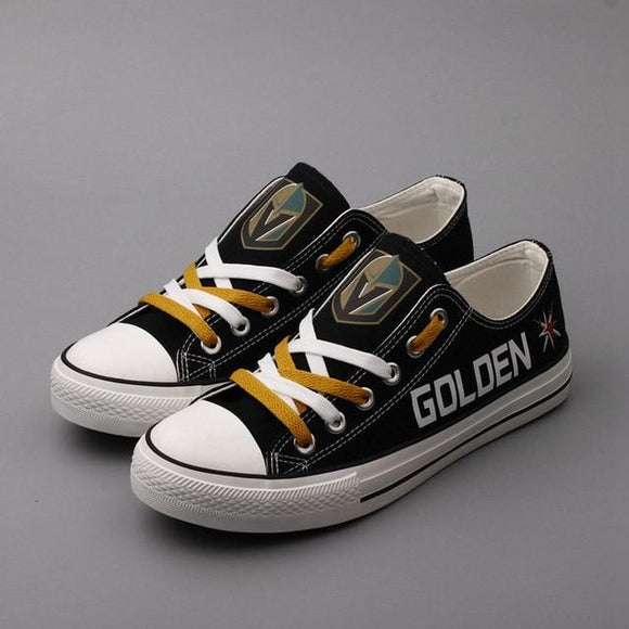 Unique Design Canvas Shoes Printed Letter & Logo Vegas Golden Knight Team Hockey-Shoes-4 Fan Shop