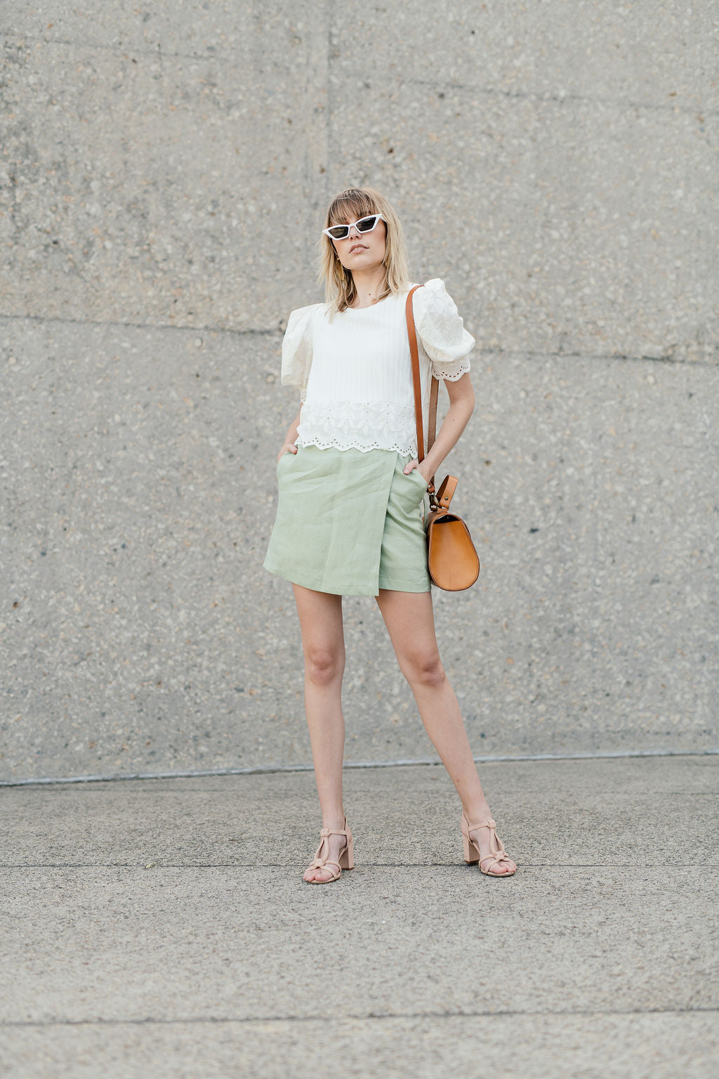 Green Linen Wrap Skirt