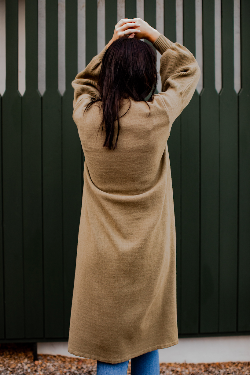 Olive Knitted Long Cardigan