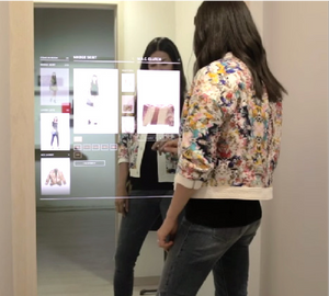 "MERo 49"" Interactive Mirror Display in Fitting Rooms"