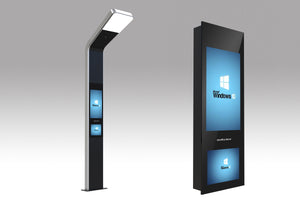 "MELa 32"" 15"" Solar Powered LED Street Light Digital Signage Totem"