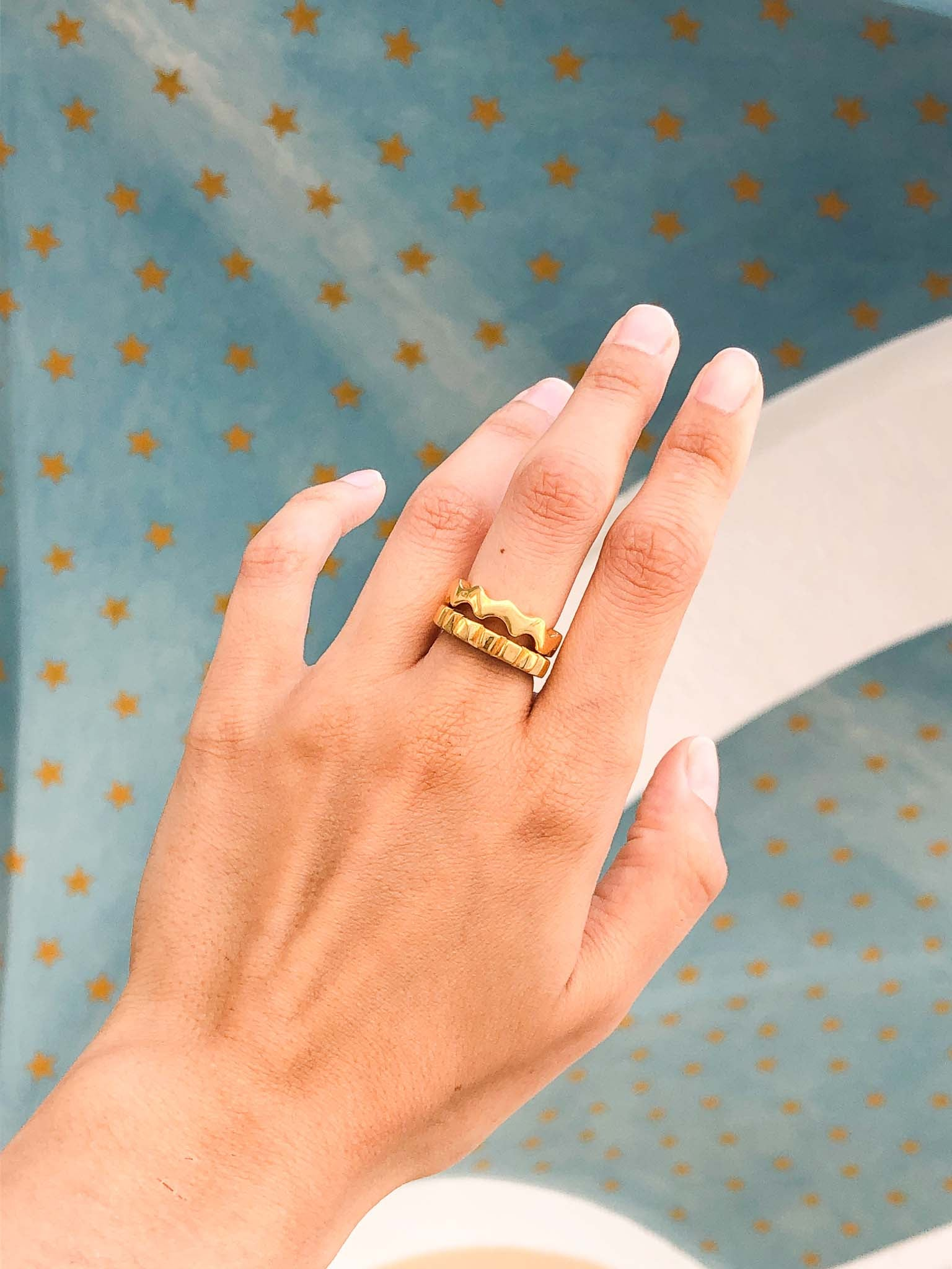 Chunky stacking rings.