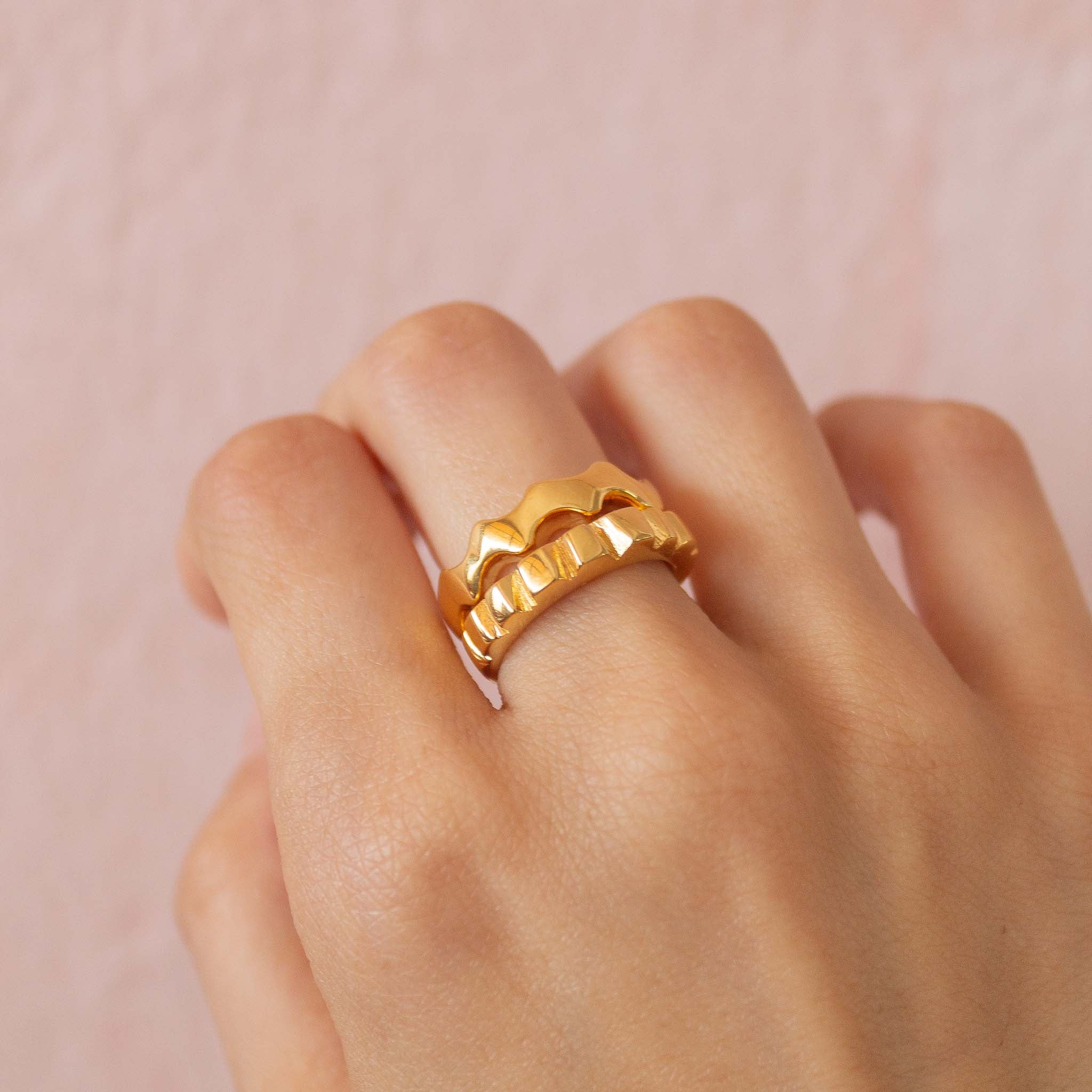 Chunky ring stacked set