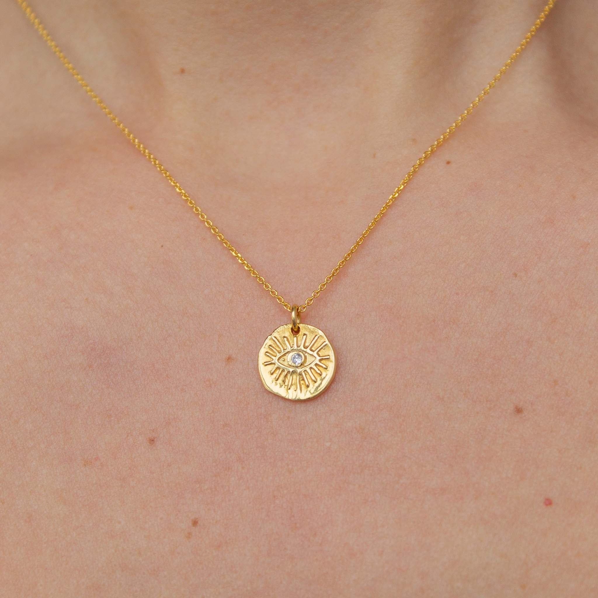 Rays Evil Eye Necklace in Solid Gold