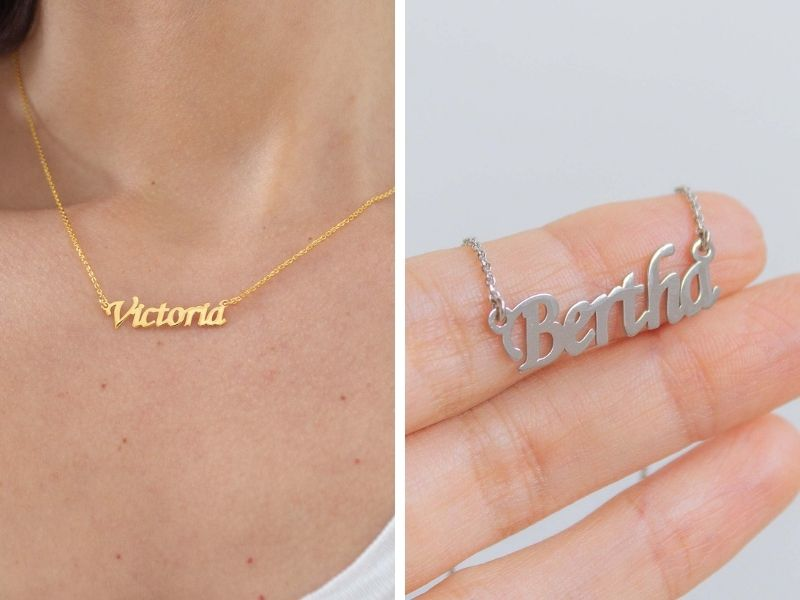 Name plate necklace in Gold Vermeil & Sterling Silver