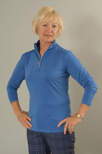 JRB 1/4 zipped roll neck top - amparo blue