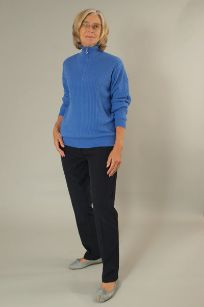 This JRB lined ladies golfing sweater is totally on trend with its cable knit.  Daily sports also have a similar range.  We currently have a golfing clothing sale on this item so it's a total bargain for lady golfers,   Its a ladies golfing sweater or a ladies golfing jumper?   The Amparo blue is such a fashionable colour.