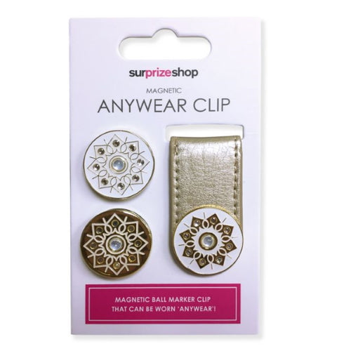 Ball marker Anywear clip - metallic gold