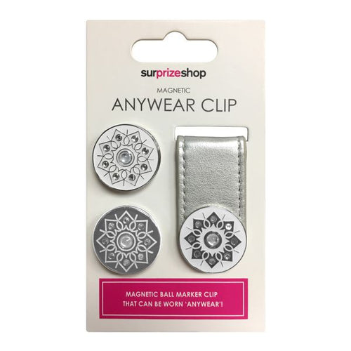 Ball marker Anywear clip - metallic silver