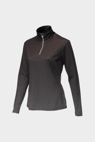 JRB 1/4 Zipped Roll Neck Top - Black Spot