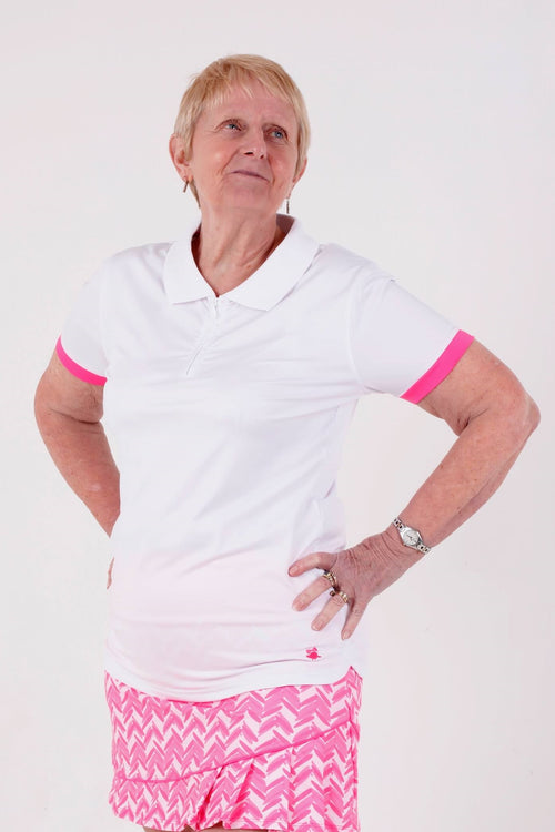 Birdies & Bows Ladies Golf On par polo - White/hot pink