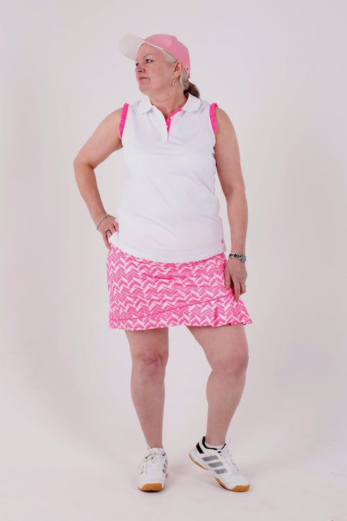 Birdies & Bows Resort and ruffles Ladies Golf polo - White/hot pink