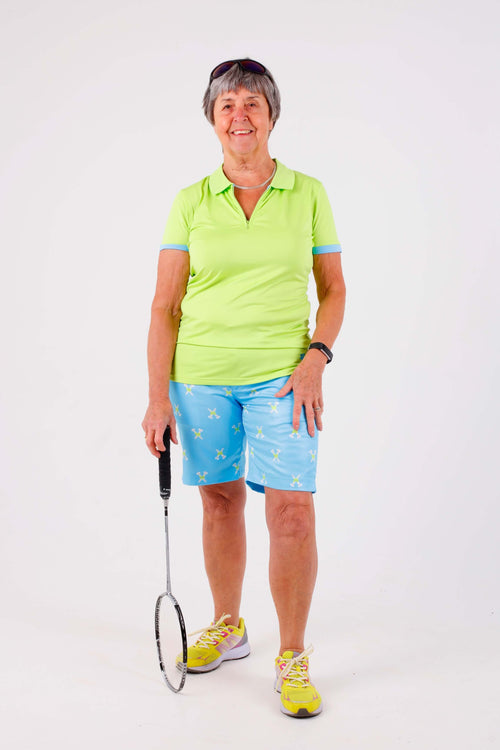 Birdies & Bows Ladies Golf On par polo - Lime/aqua