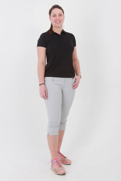 What a great fashion colour. These light grey Ladies Golfing Capri trousers are perfect for your ladies golfing wardrobe.    Matched with the JRB Ladies Golf shirts in various stunning designs you will look amazing on the golf course.  These are not likely to go into the golf clothing sale.  They'll sell out fast.