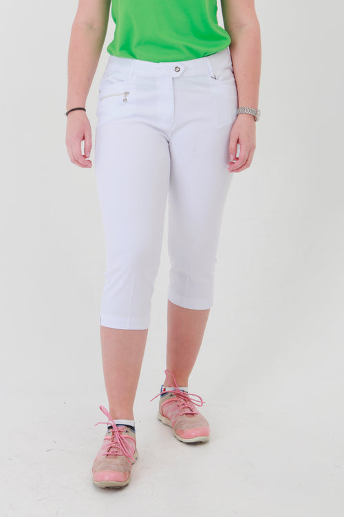 Such a comfortable fit for the ladies golf season. White Ladies Golfing Capri trousers are perfect for your ladies golfing wardrobe.    Matched with the JRB Ladies Golf shirts in various stunning designs and you will look amazing when out playing on the golf course.
