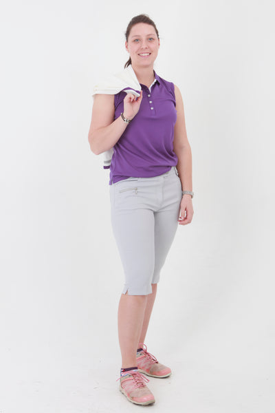We have an amazing range of golf clothes for women. This purple golf sleeveless polo shirt coordinates with the purple lady golfer range from JRB Ladies golf.  The colour is stunning and compliments the ladies golf skorts and ladies golf shorts, especially the ladies golf city shorts in light grey and the purple twirl.