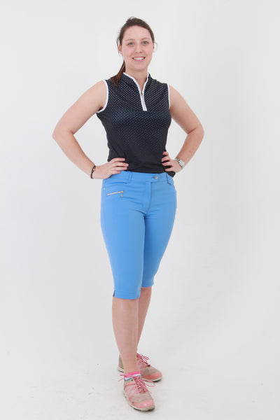 Great golf clothes for women.  If you are looking for ladies golf clothing then look at these fashionable, stylish cornflower blue ladies golf shorts. Matched with the JRB Ladies Golf shirts in various stunning designs and you will look amazing when out playing your Daily Sports.
